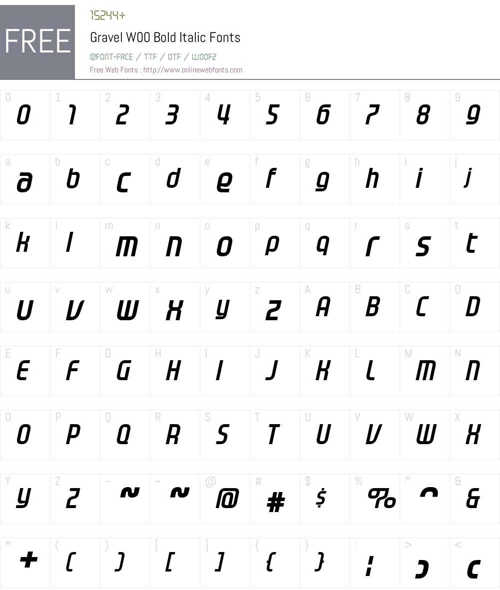GravelW00-BoldItalic Font Screenshots