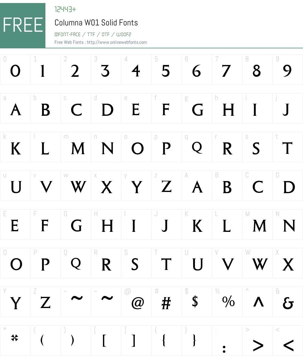 ColumnaW01-Solid Font Screenshots