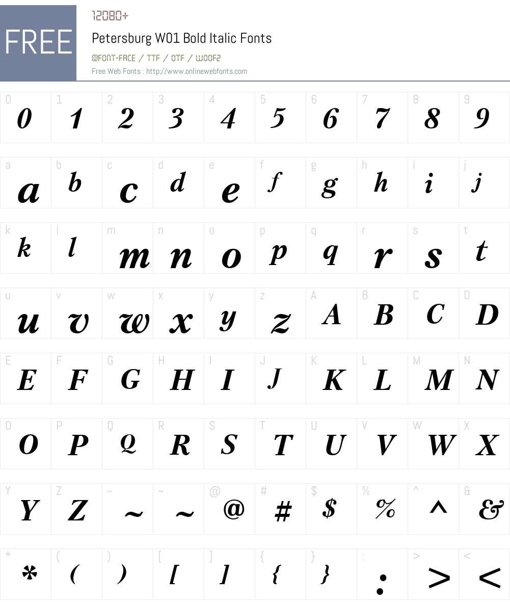 PetersburgW01-BoldItalic Font Screenshots