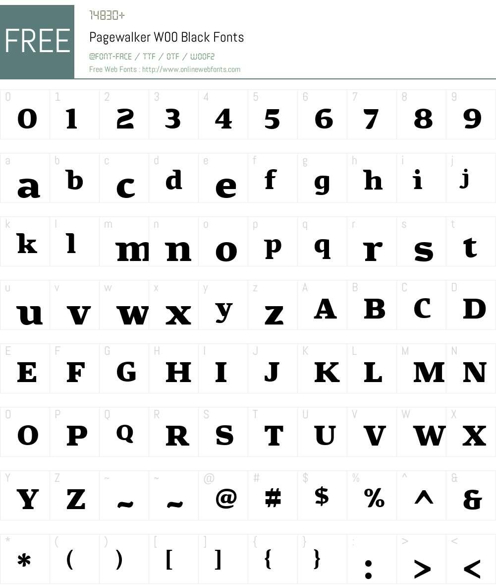 PagewalkerW00-Black Font Screenshots
