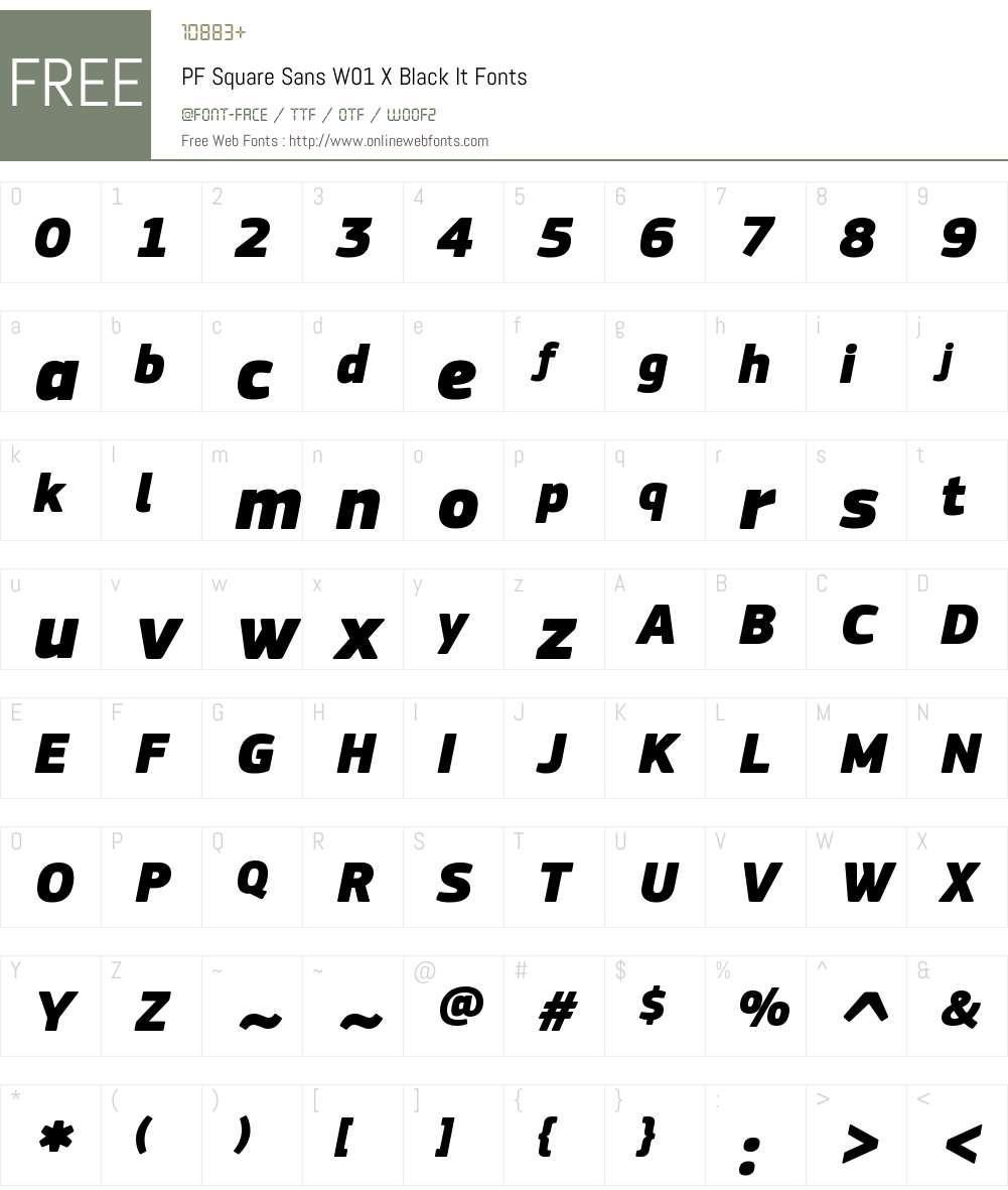 PFSquareSansW01-XtraBlackIt Font Screenshots