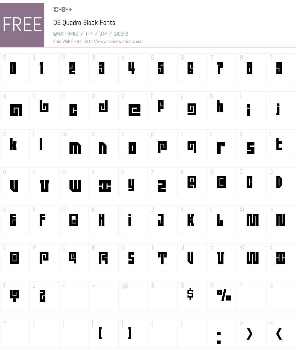 DS Quadro Font Screenshots