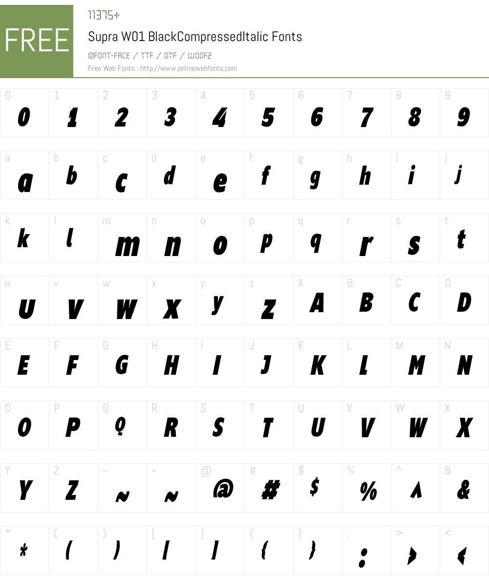 SupraW01-BlackCompressedIt Font Screenshots