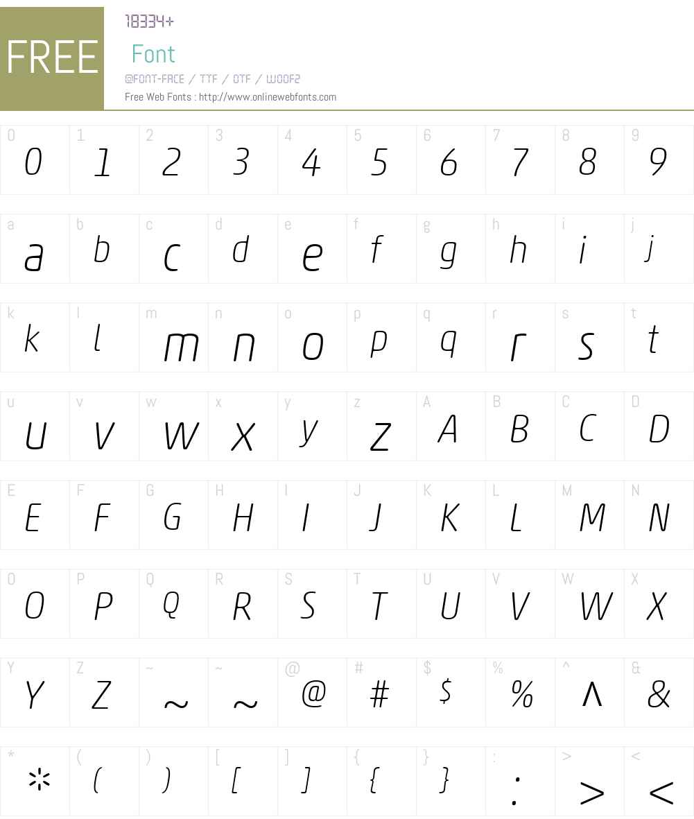AkkoRoundedW01-ThinItalic Font Screenshots