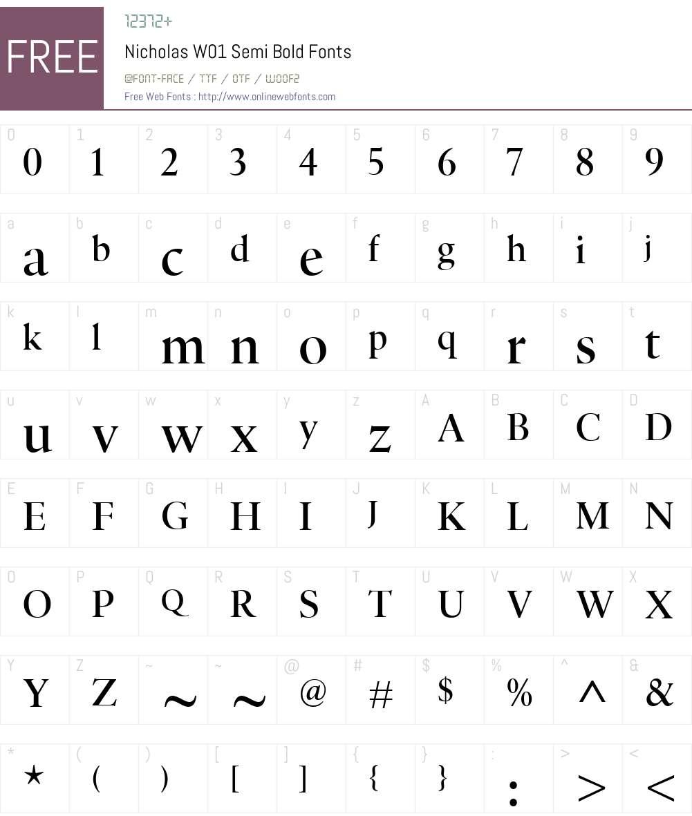 NicholasW01-SemiBold Font Screenshots