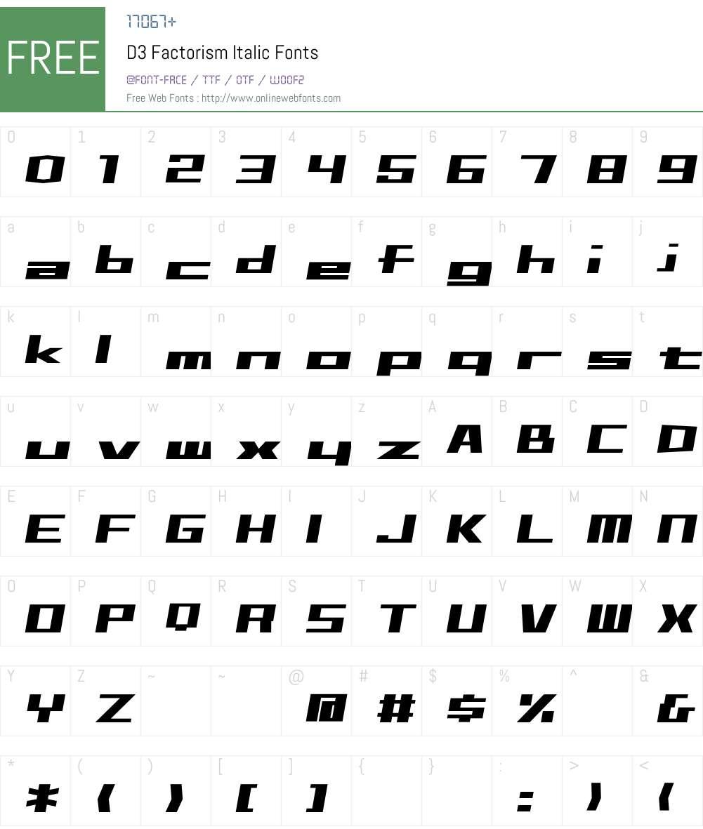 D3 Factorism Italic Font Screenshots