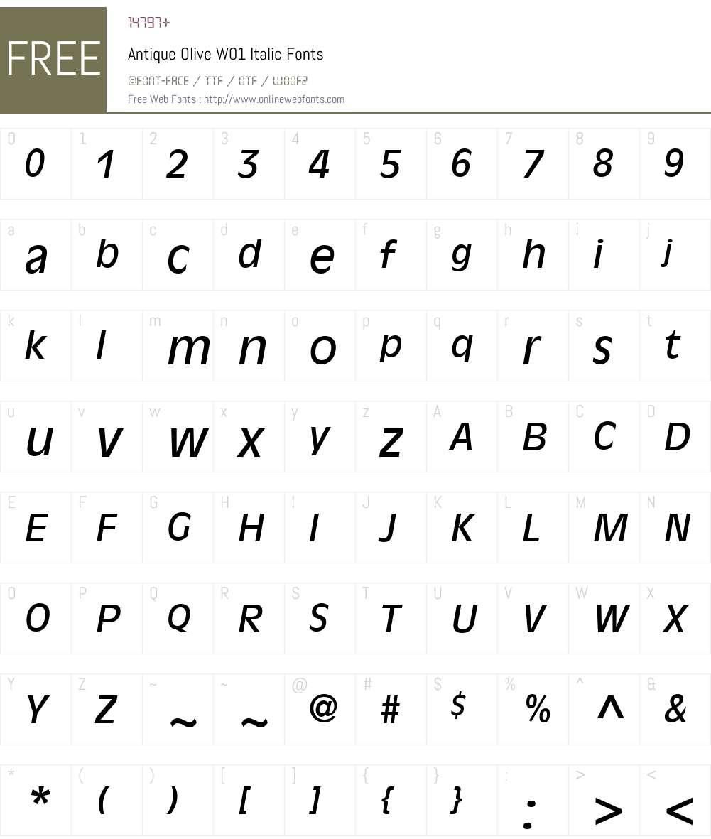 AntiqueOliveW01-Italic Font Screenshots