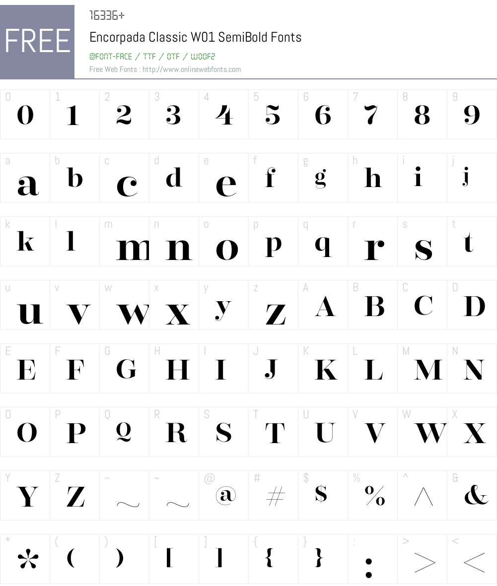 EncorpadaClassicW01-SemiBd Font Screenshots