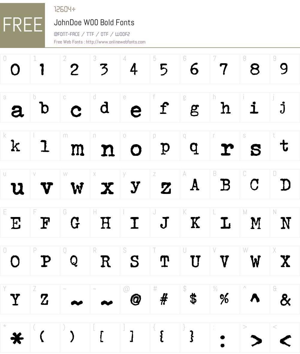 JohnDoeW00-Bold Font Screenshots