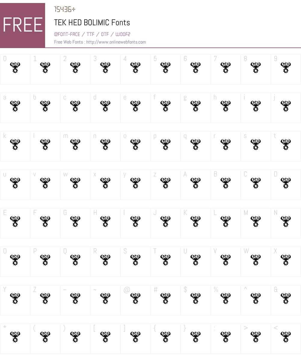 TEK HED BOLIMIC Font Screenshots