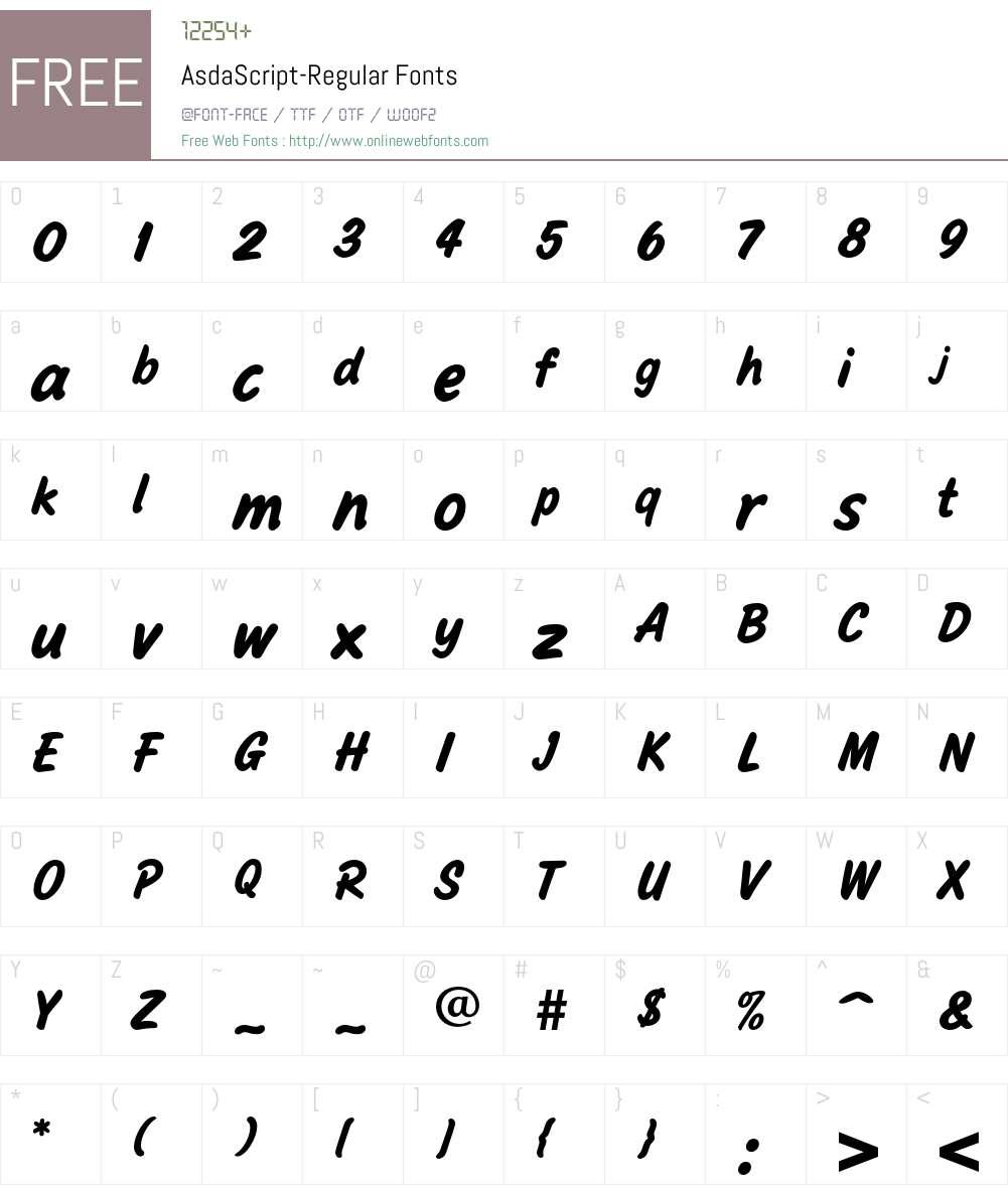 AsdaScript Font Screenshots