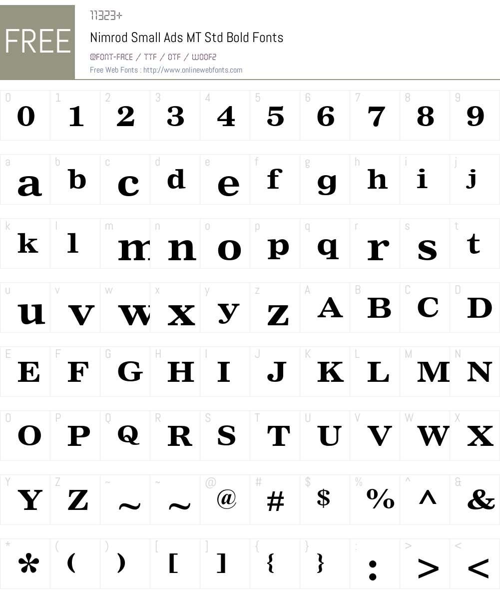 Nimrod Small Ads MT Std Font Screenshots