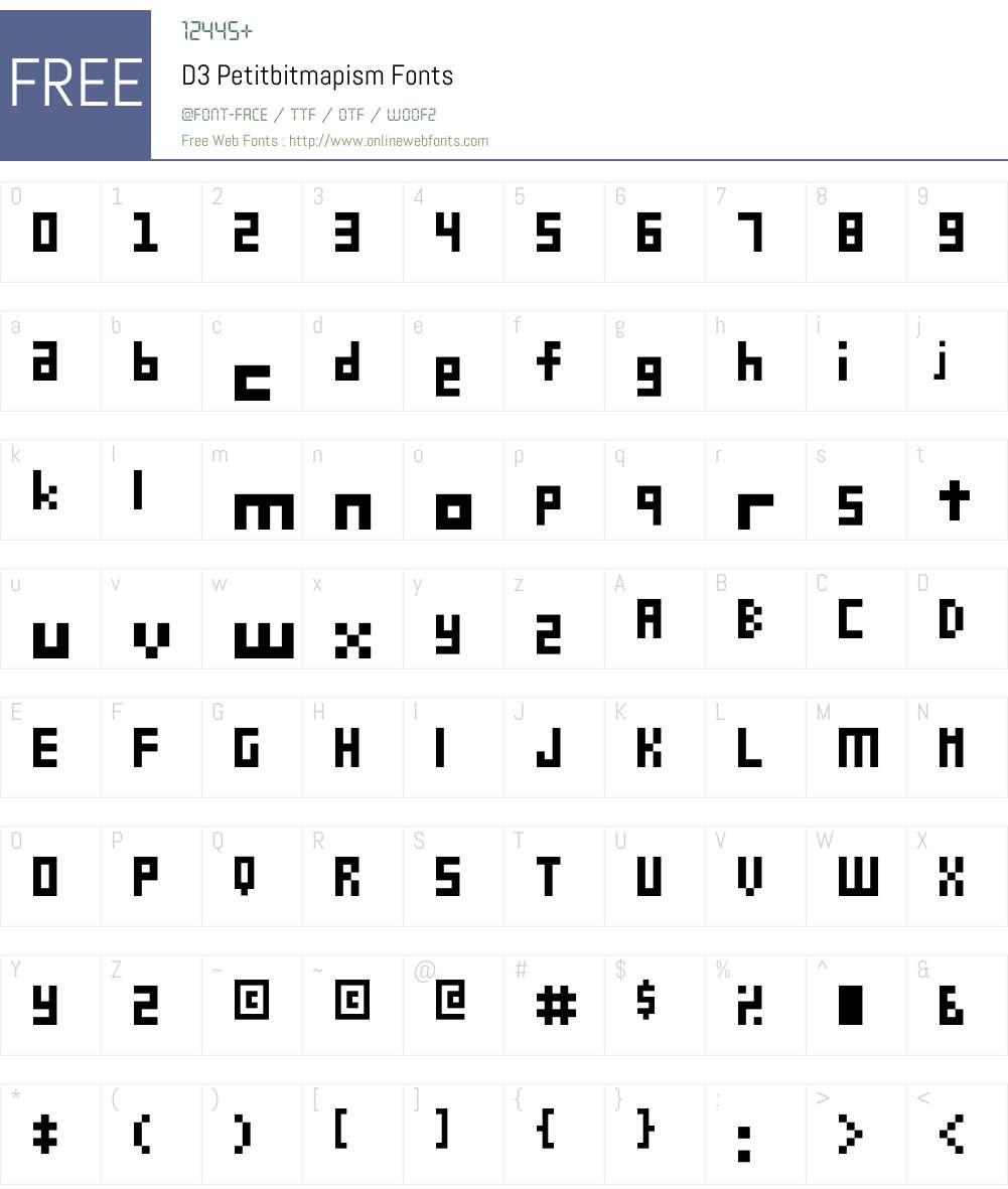 D3 Petitbitmapism Font Screenshots