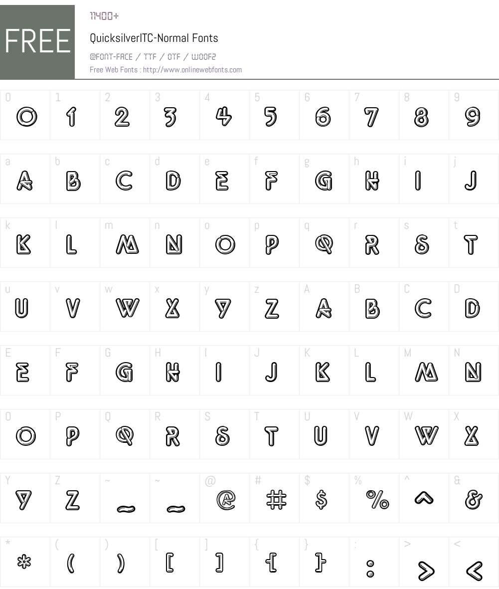Quicksilver Font Screenshots