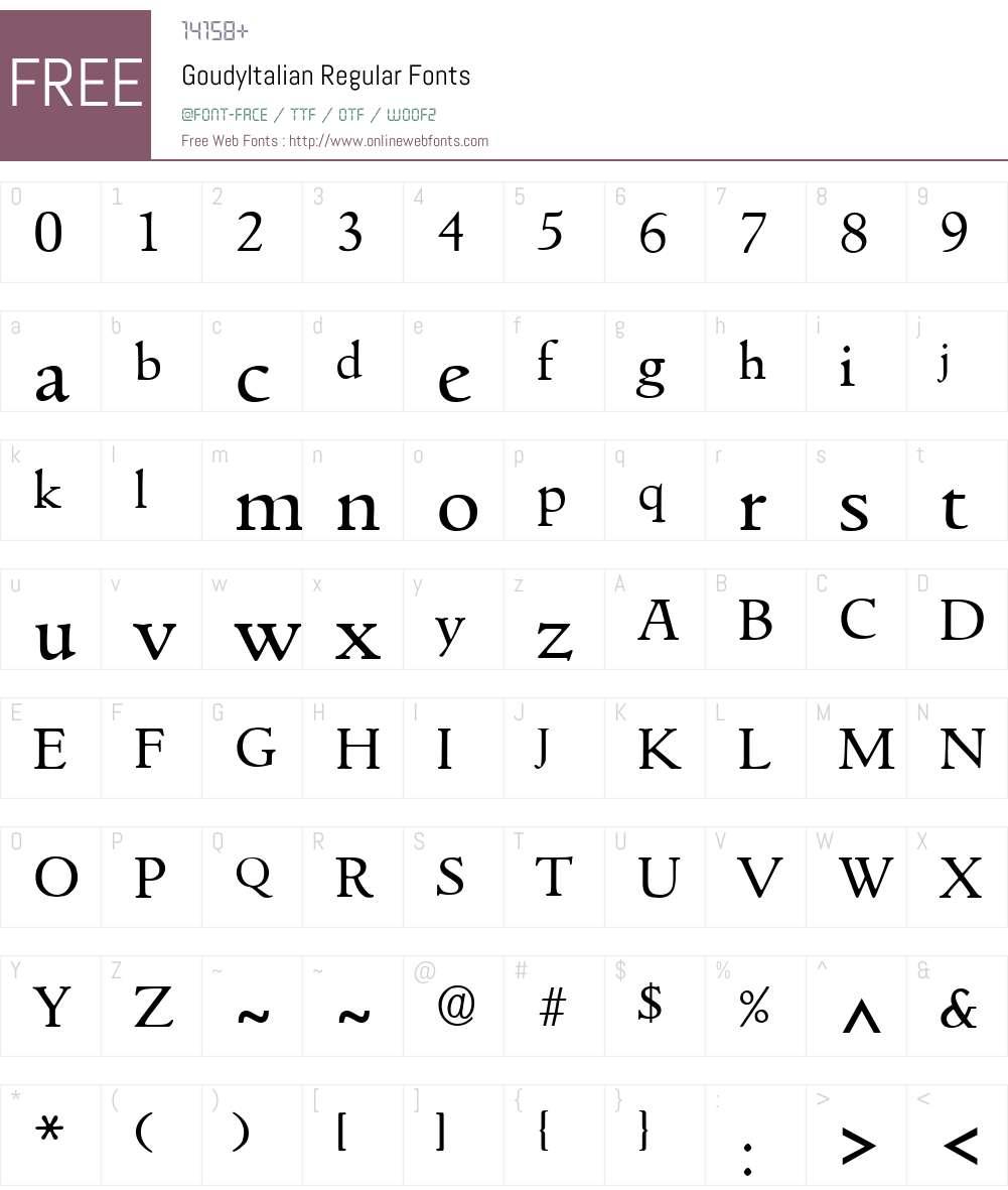 GoudyItalian Font Screenshots
