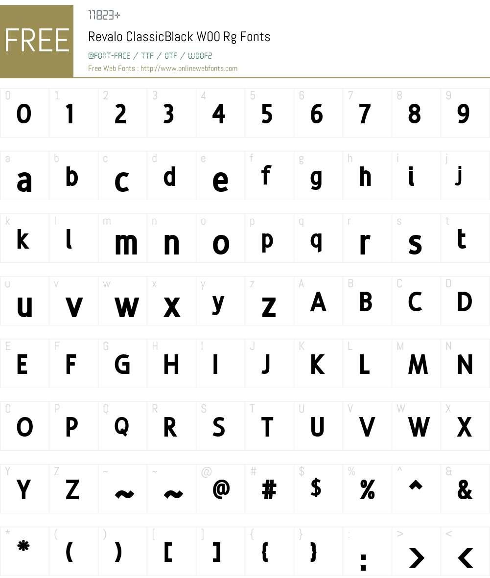 Revalo ClassicBlack Font Screenshots