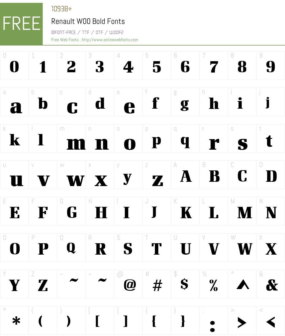 RenaultW00-Bold Font Screenshots