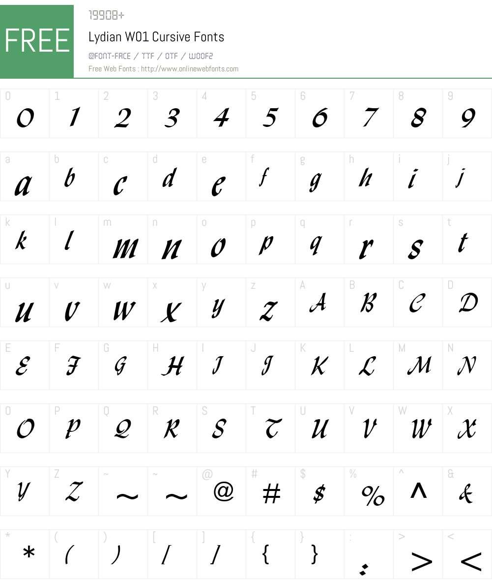 LydianW01-Cursive Font Screenshots