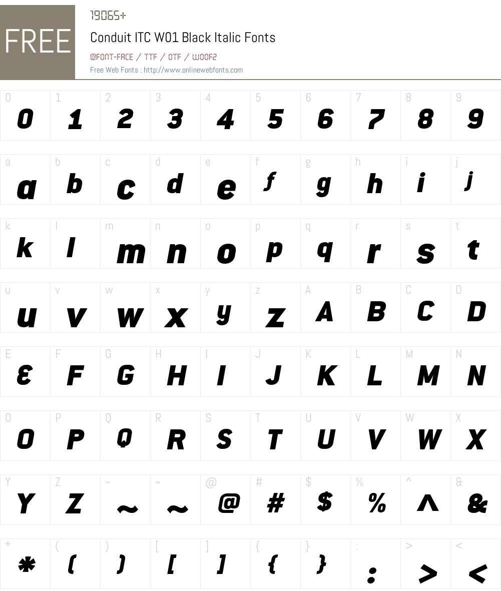 ConduitITCW01-BlackItalic Font Screenshots