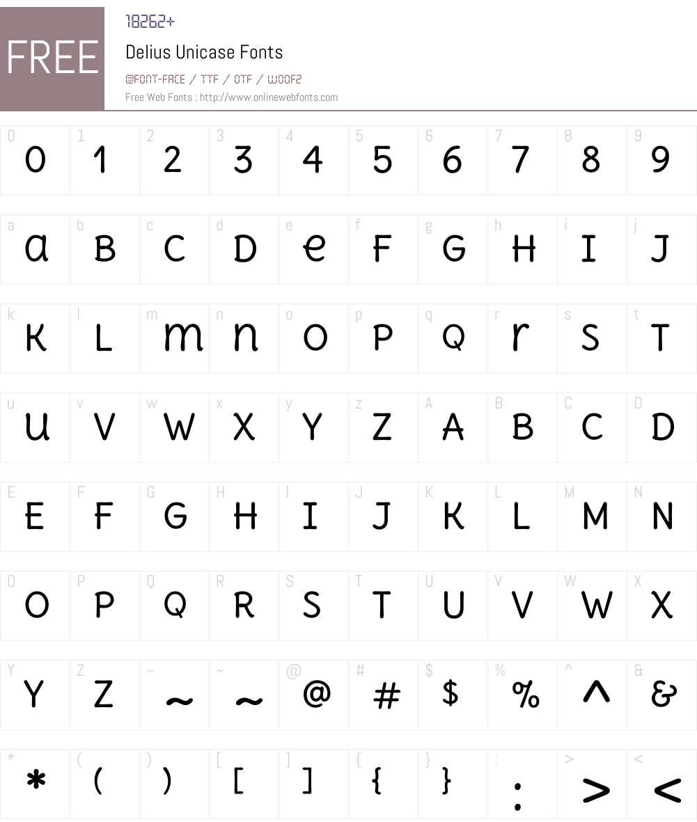 Delius Unicase Font Screenshots