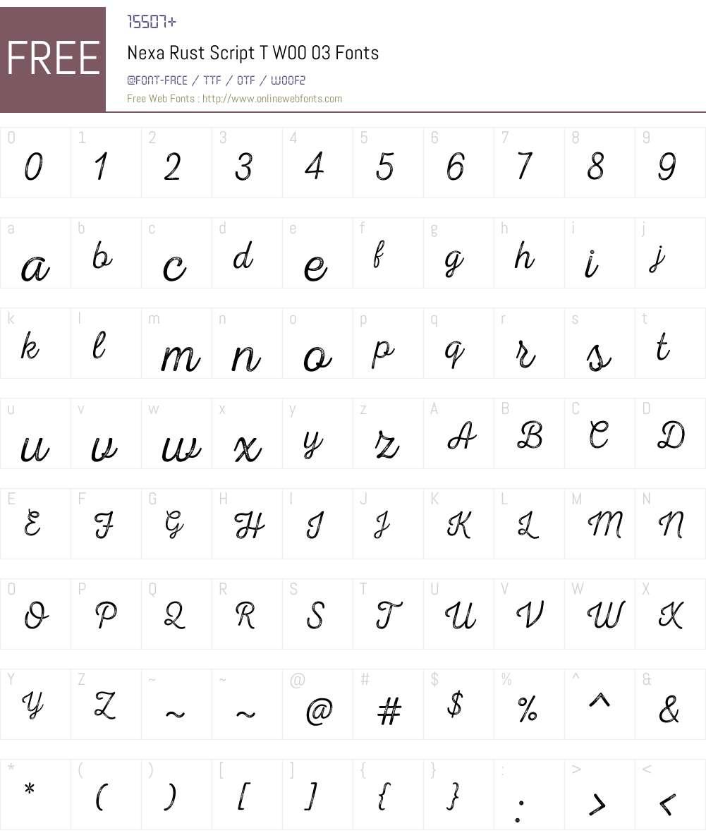 NexaRustScriptTW00-03 Font Screenshots