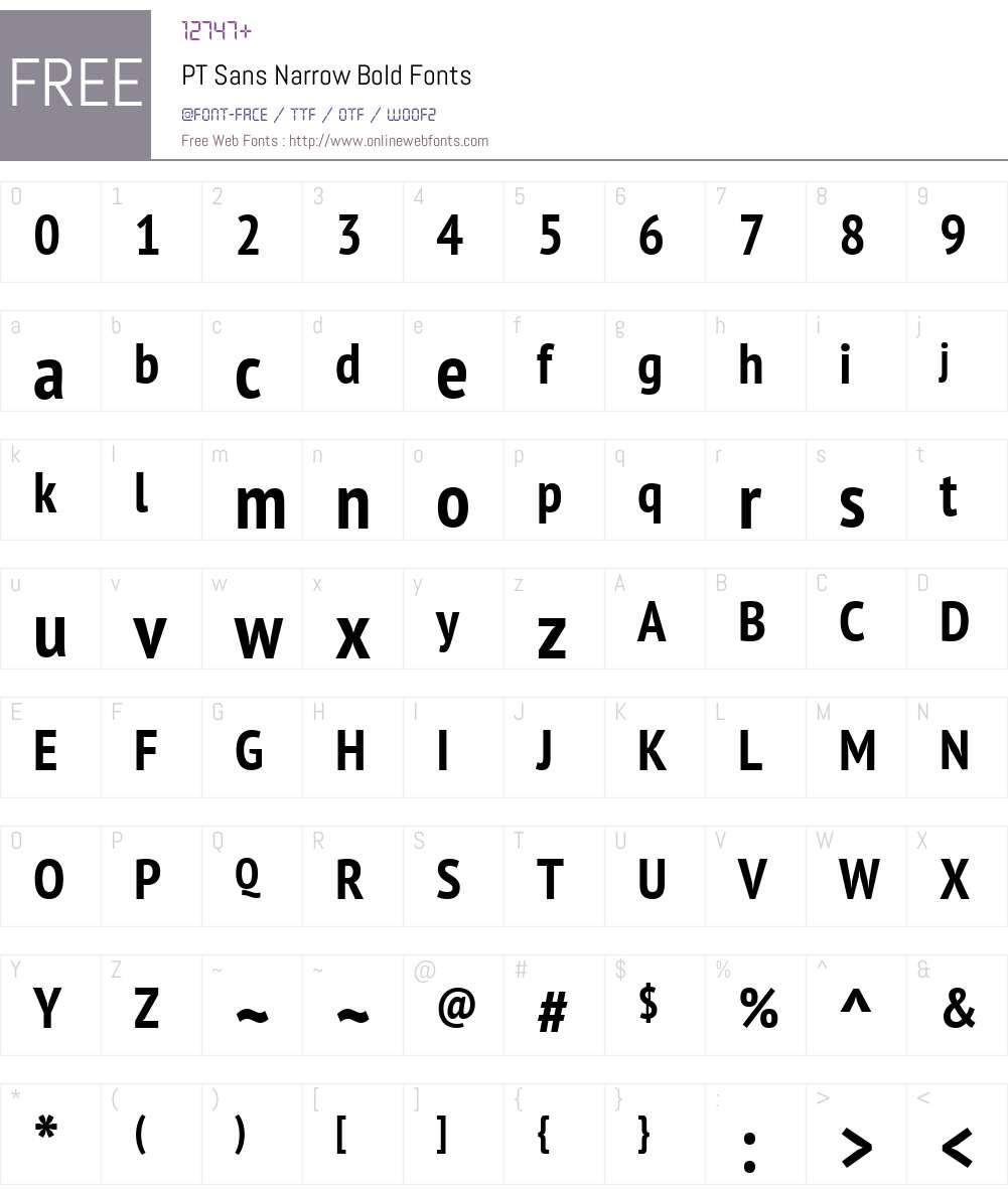 PT Sans Narrow Font Screenshots