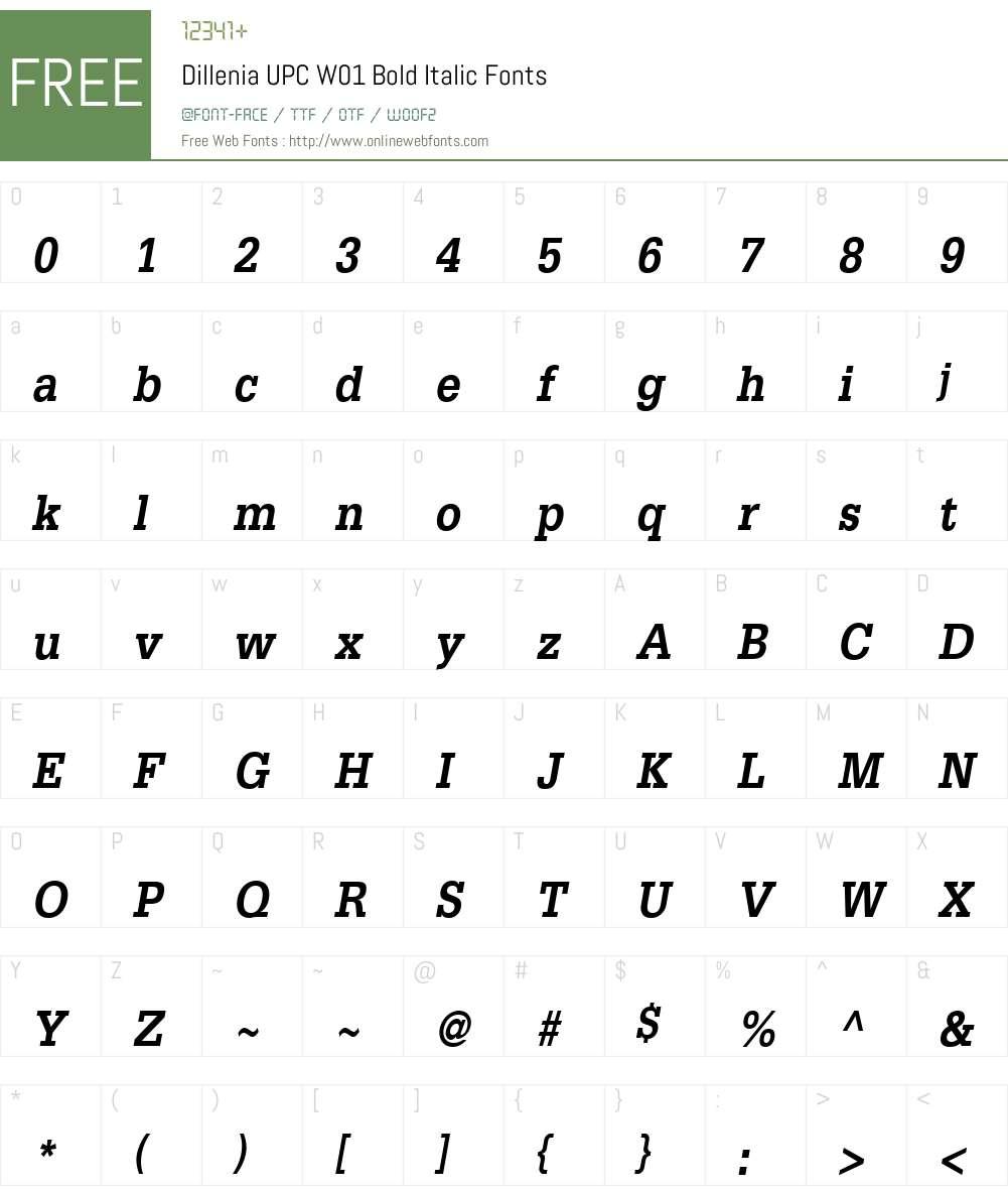 DilleniaUPCW01-BoldItalic Font Screenshots