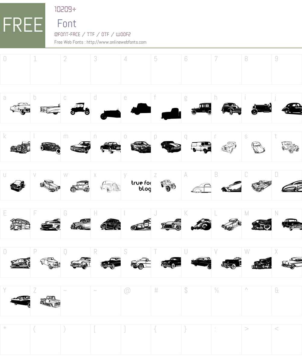 vintage auto cars tfb Font Screenshots