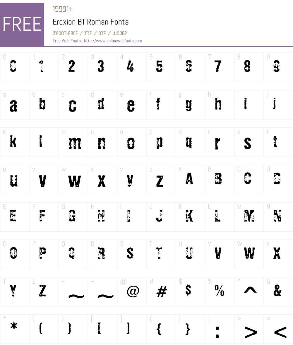 Eroxion BT Font Screenshots