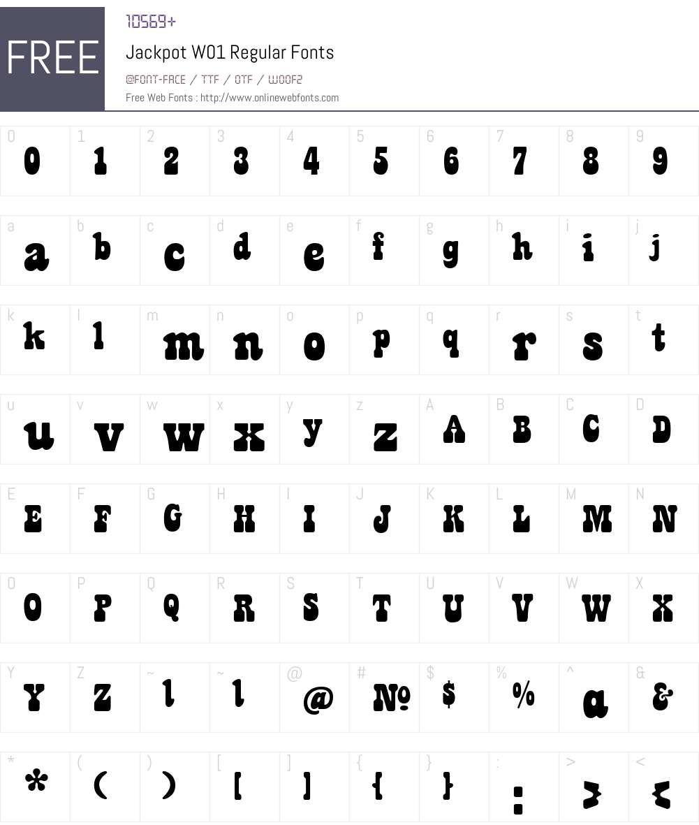 JackpotW01-Regular Font Screenshots