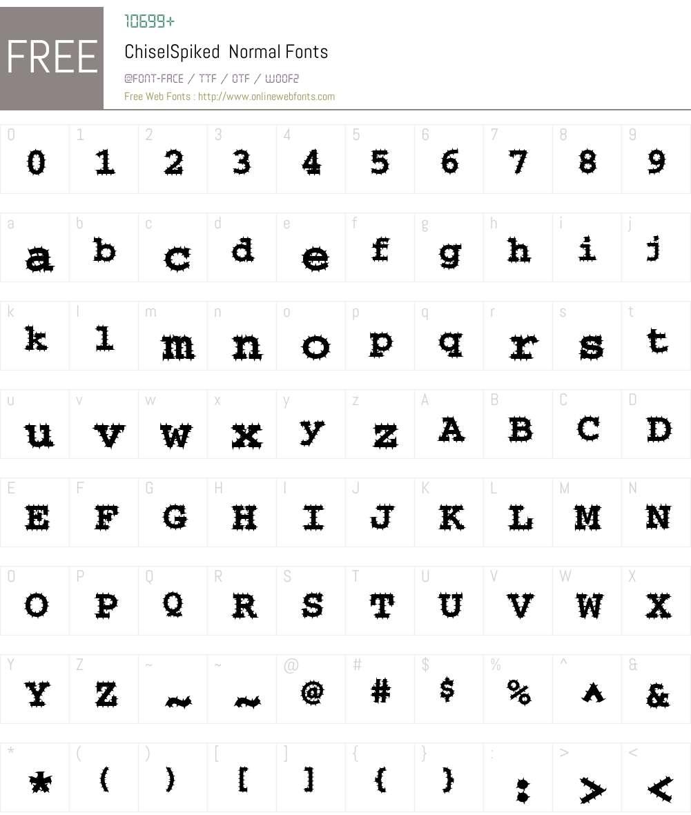 ChiselSpiked Font Screenshots