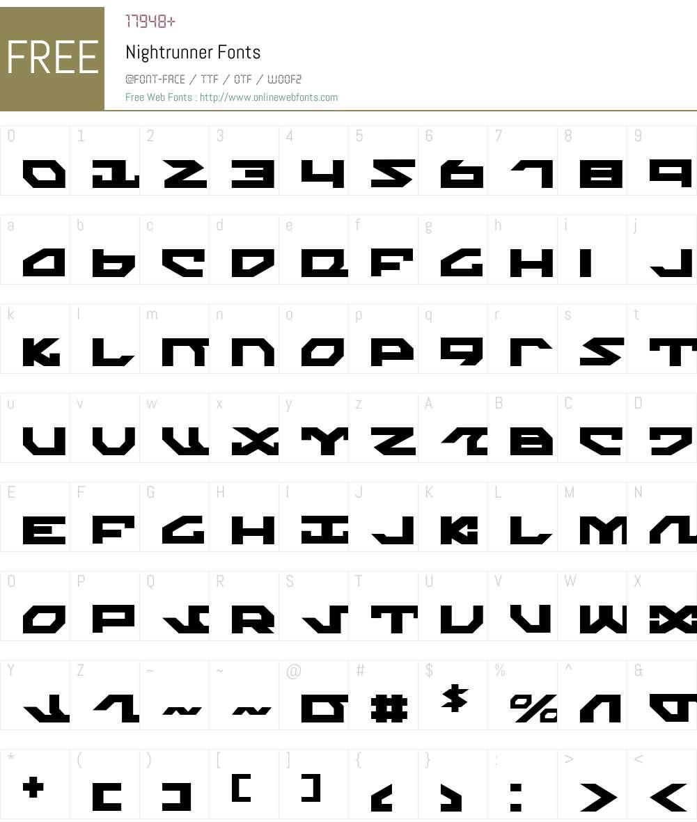 Nightrunner Font Screenshots
