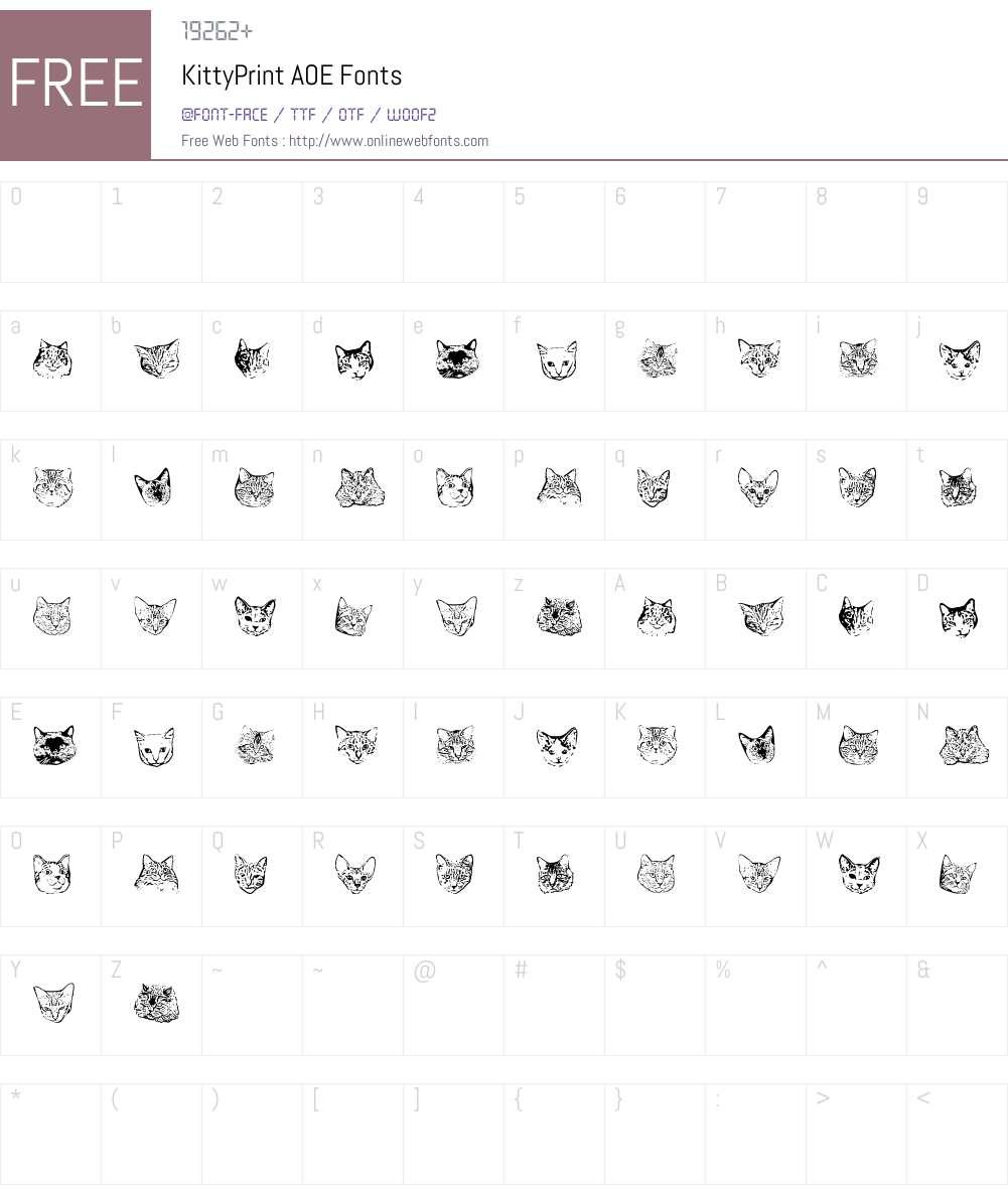 KittyPrint AOE Font Screenshots