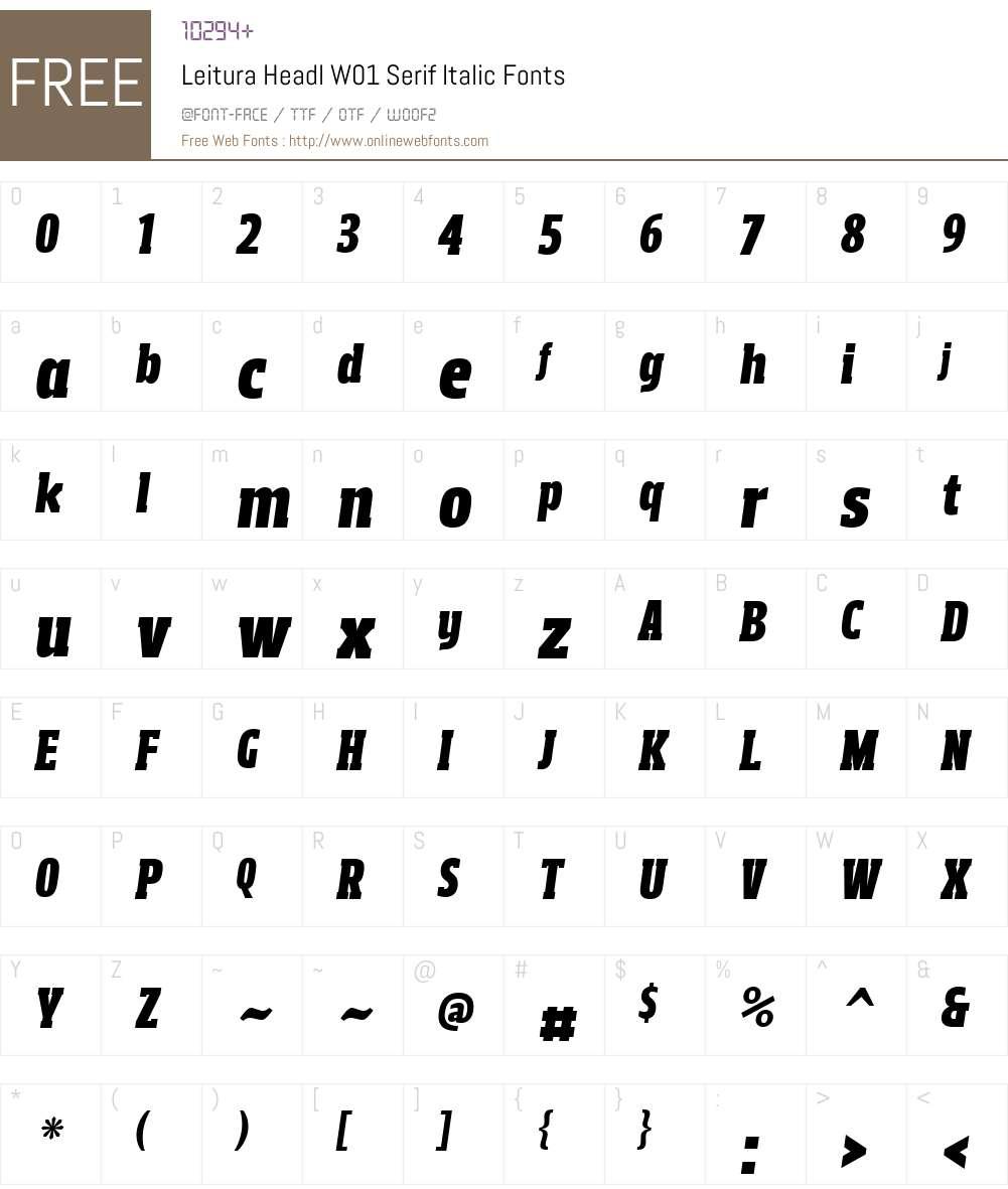 LeituraHeadlW01-SerifItalic Font Screenshots