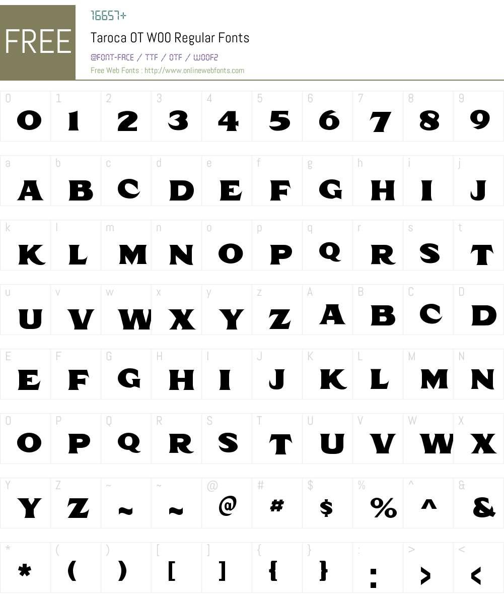TarocaOTW00-Regular Font Screenshots