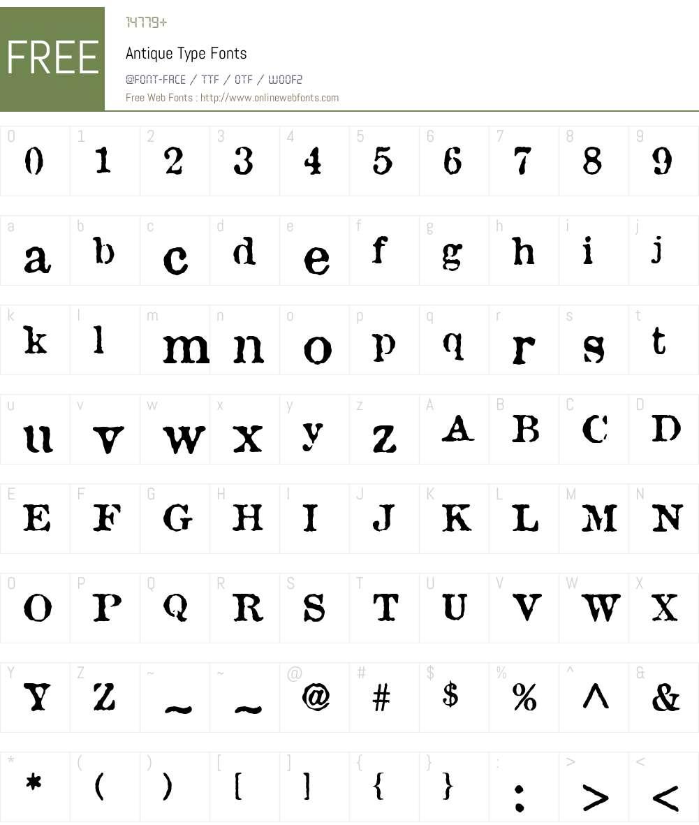Antique Type Font Screenshots