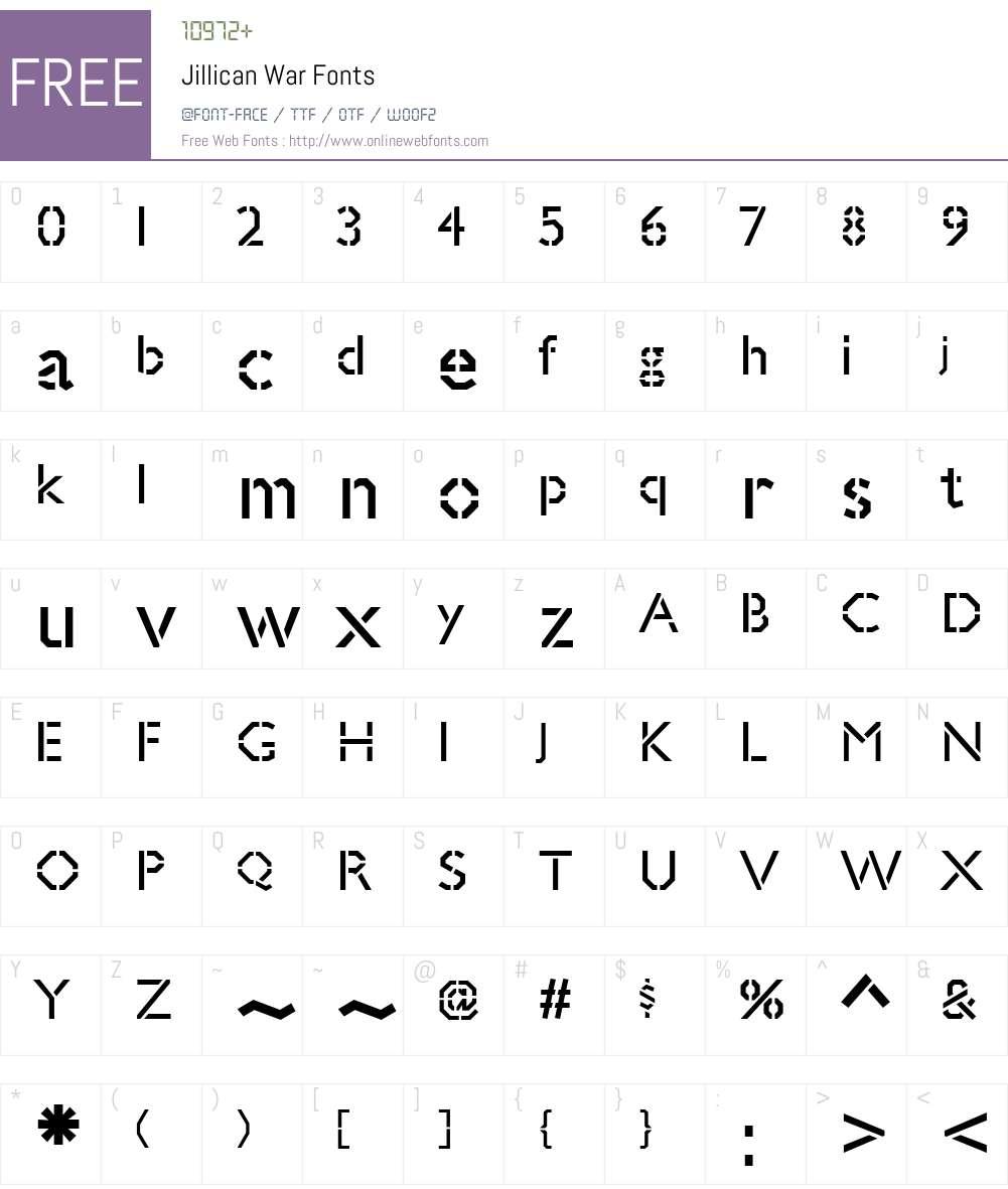 Jillican War Font Screenshots