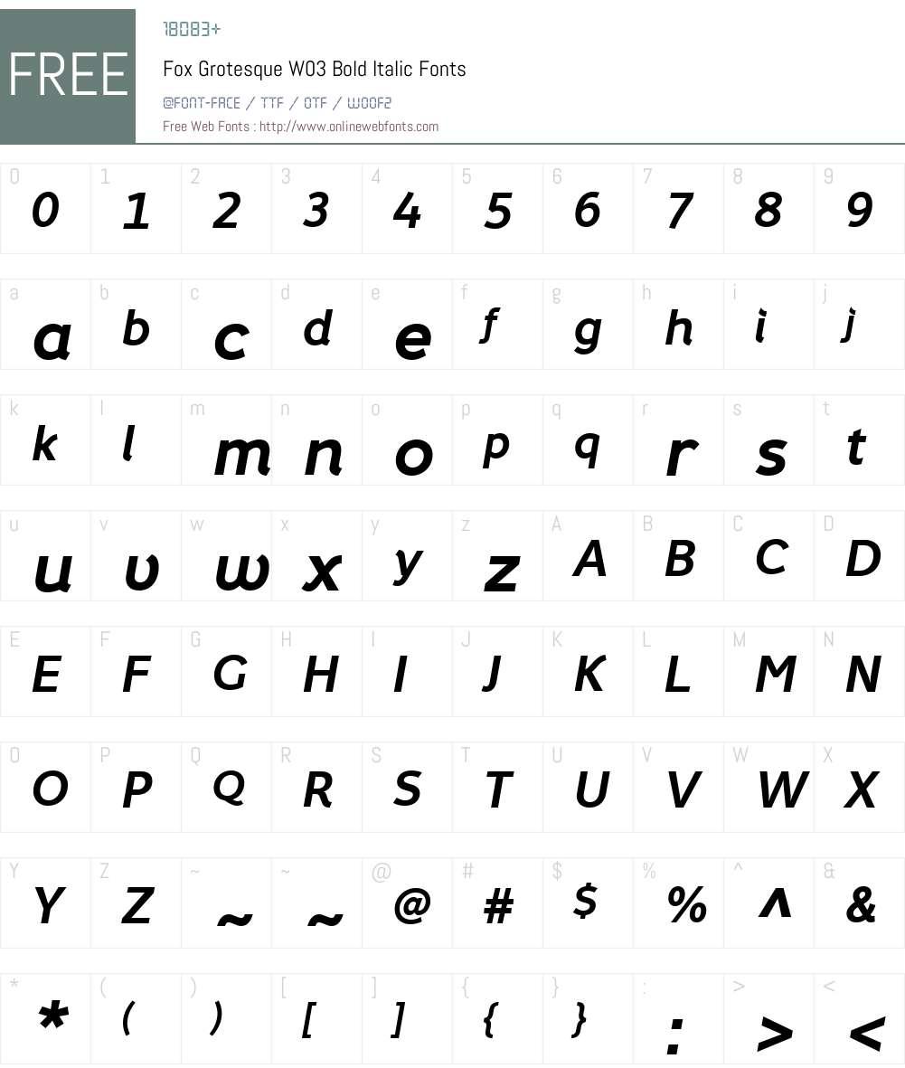 FoxGrotesqueW03-BoldItalic Font Screenshots