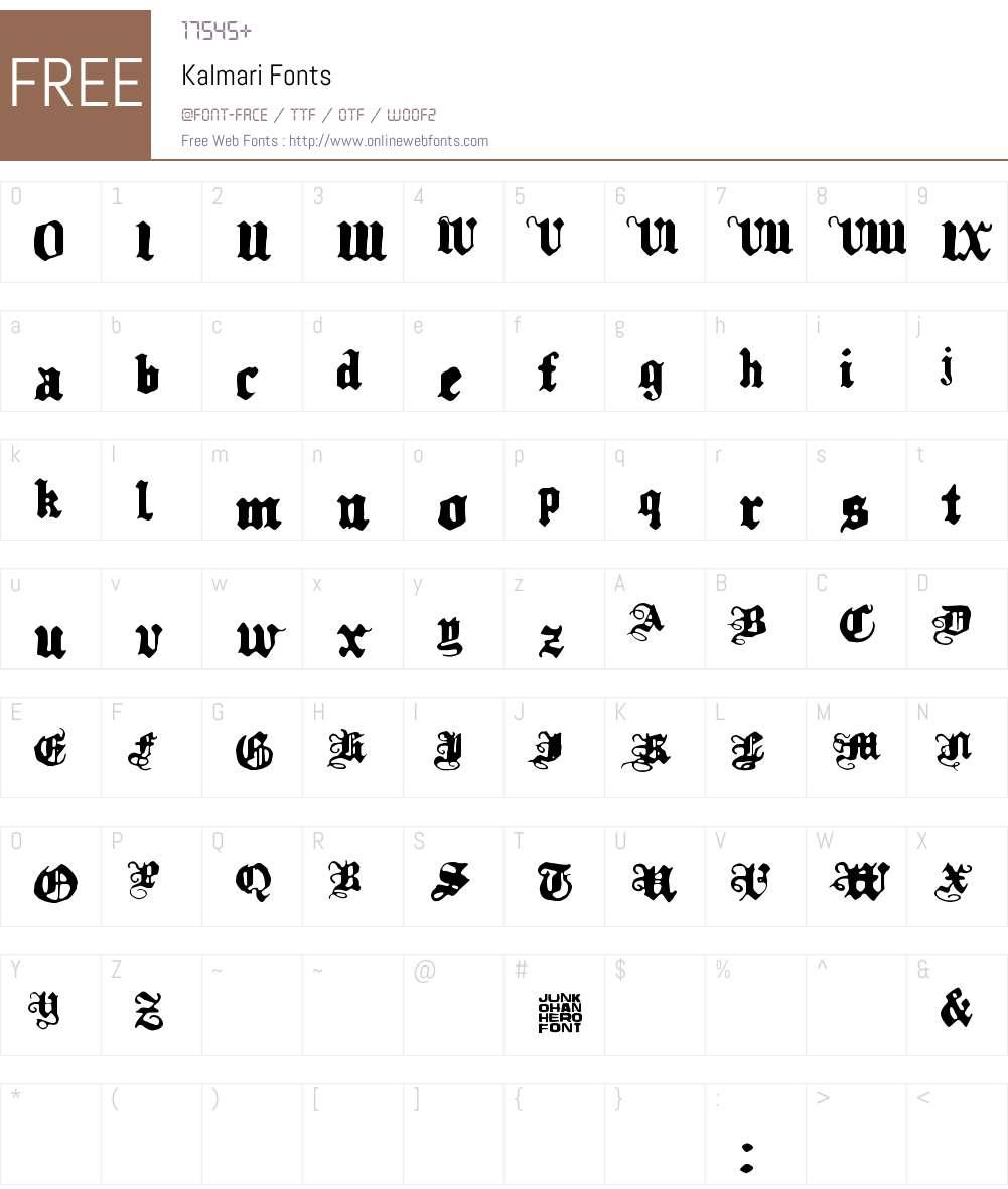 Kalmari Font Screenshots