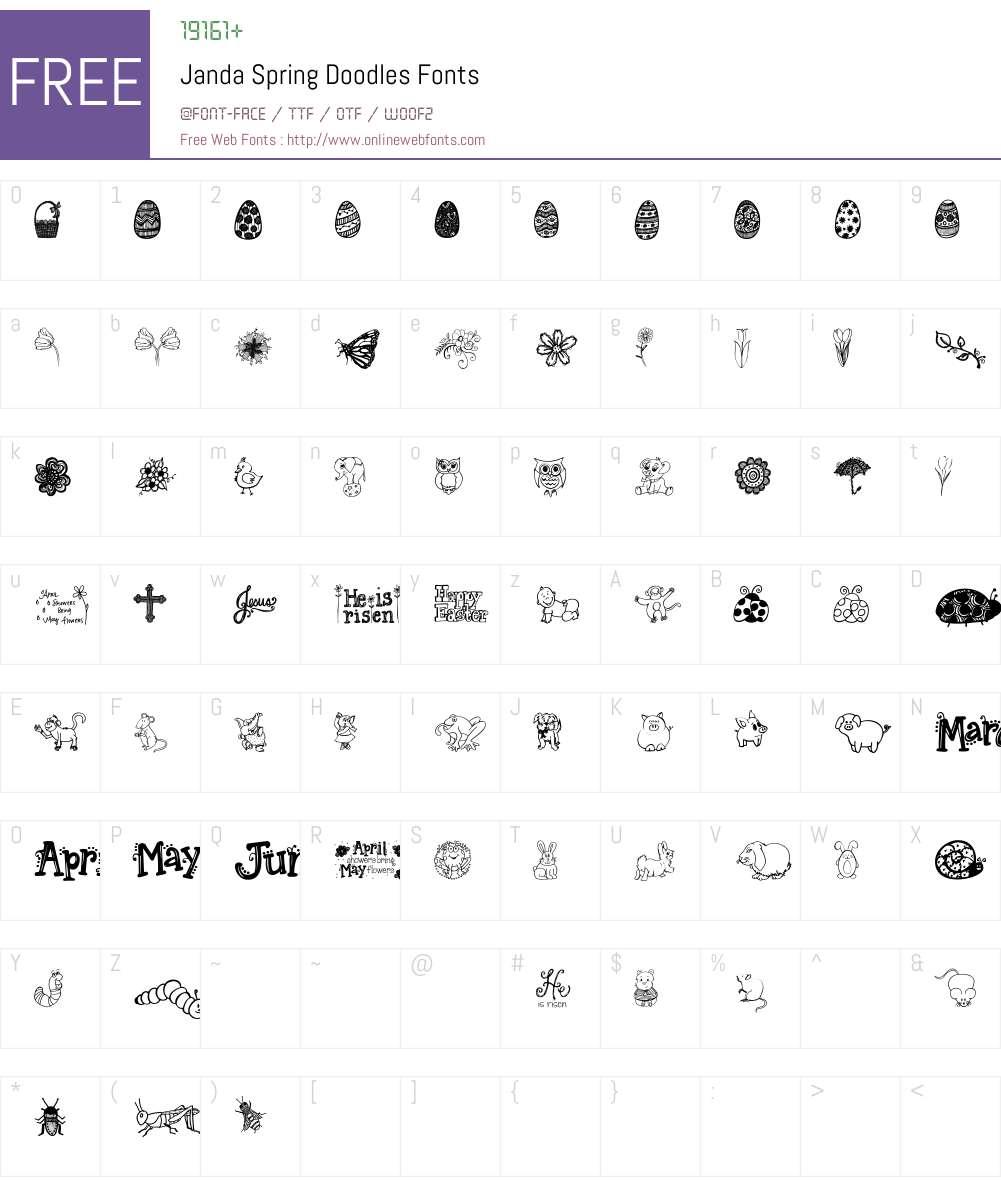 Janda Spring Doodles Font Screenshots