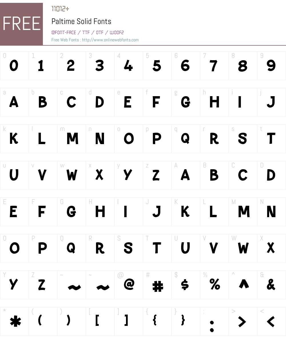 Paltime Font Screenshots