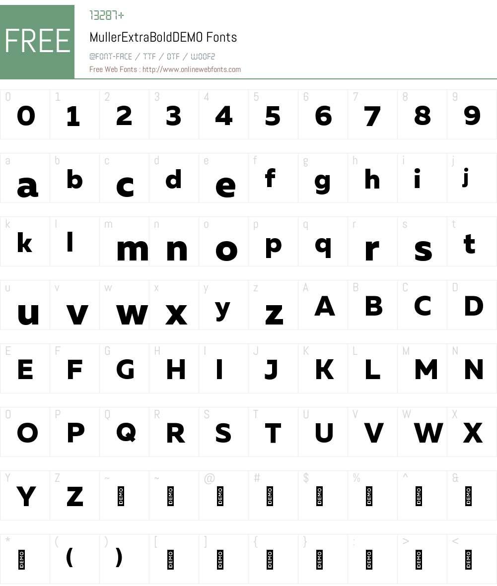 Muller ExtraBold DEMO Font Screenshots