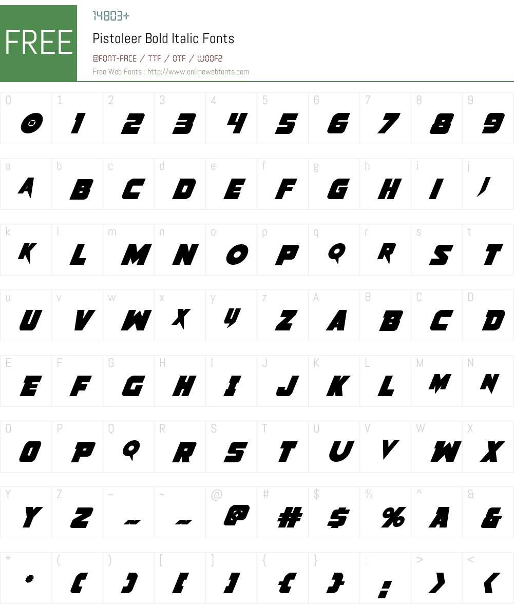 Pistoleer Bold Italic Font Screenshots