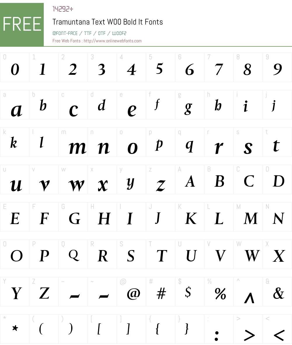 TramuntanaTextW00-BoldIt Font Screenshots