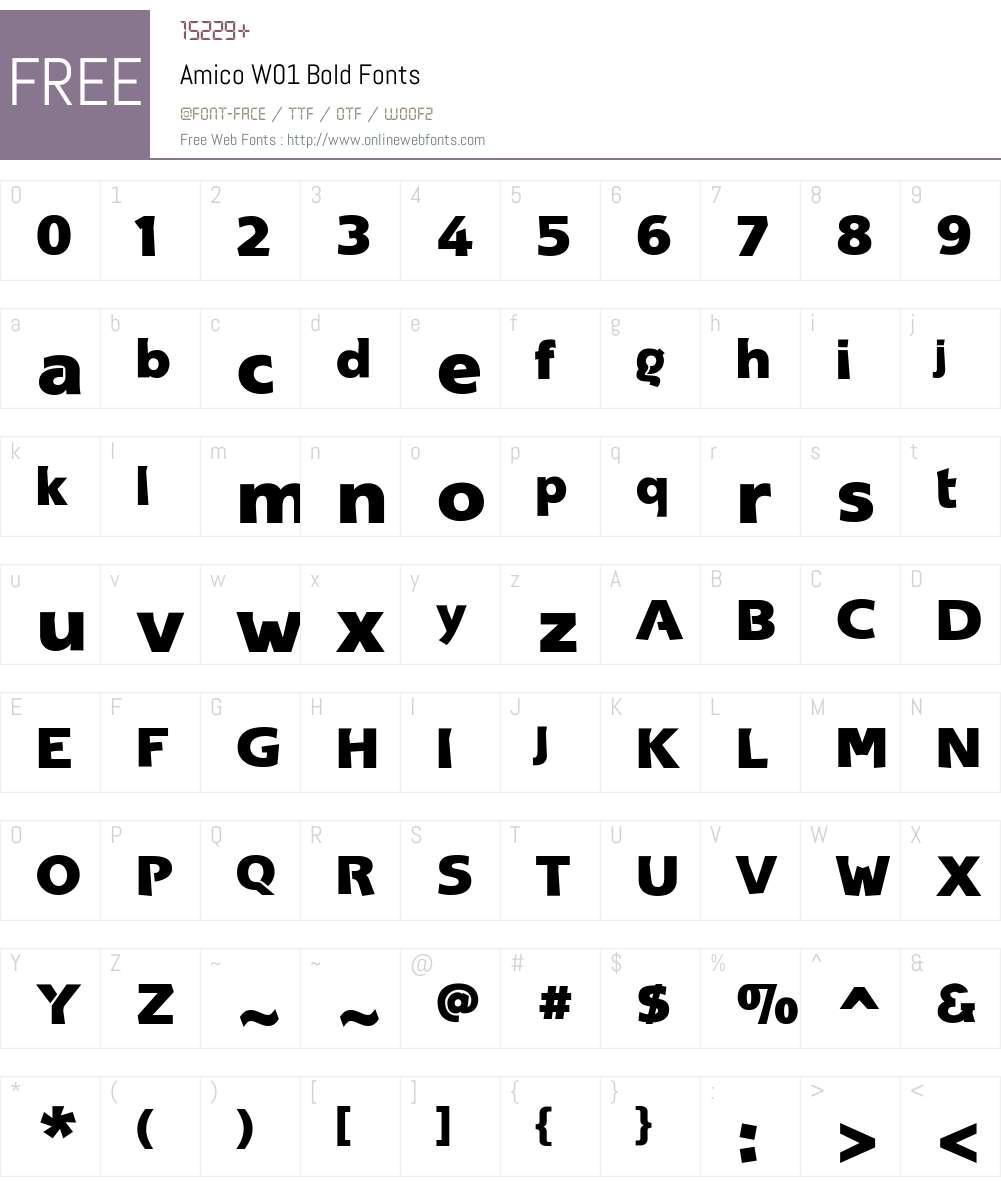 AmicoW01-Bold Font Screenshots
