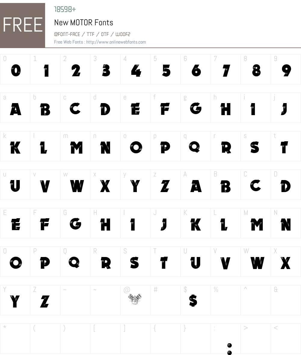 New MOTOR Font Screenshots