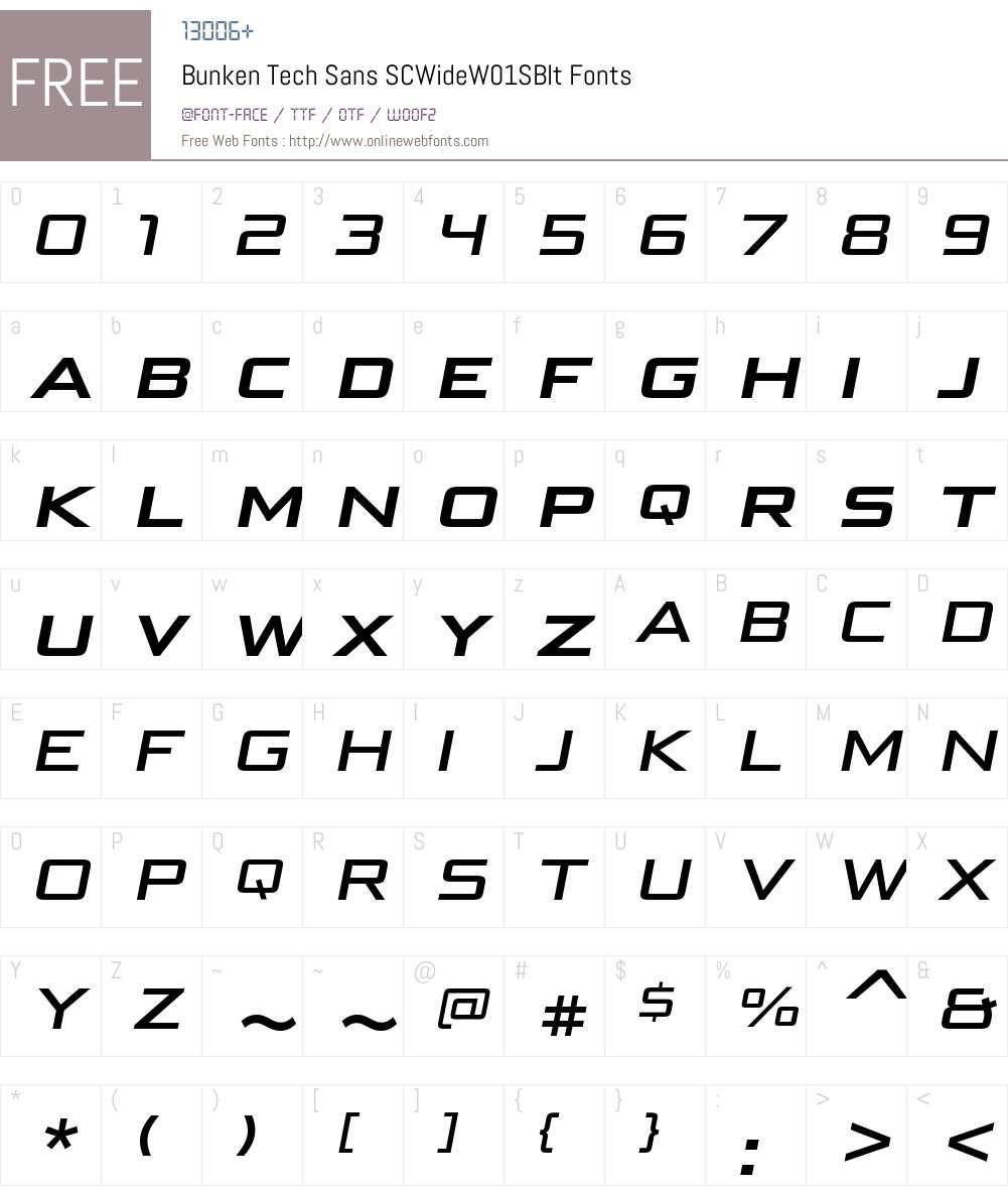 BunkenTechSansSCWideW01-SBIt Font Screenshots