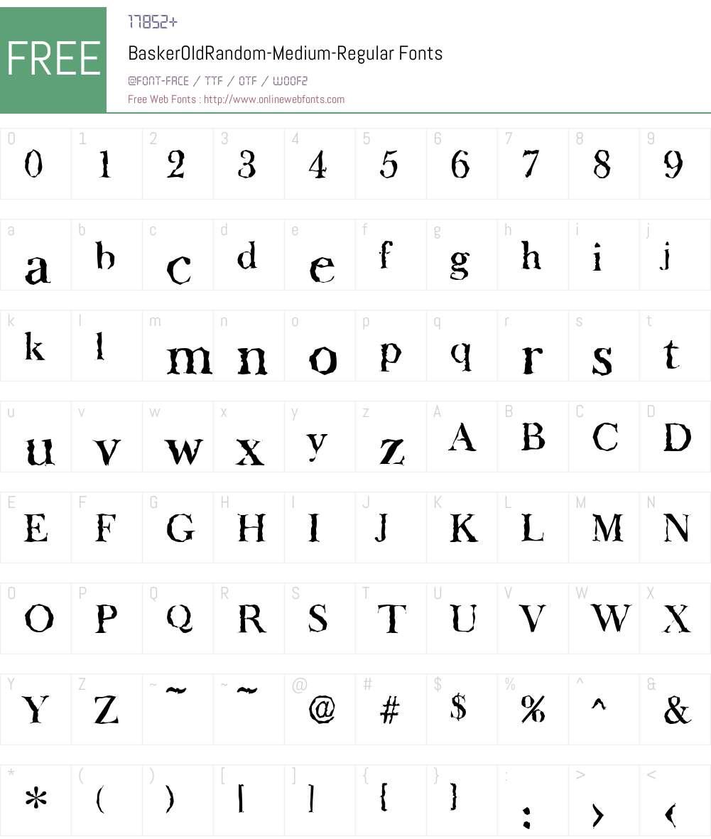 BaskerOldRandom-Medium Font Screenshots
