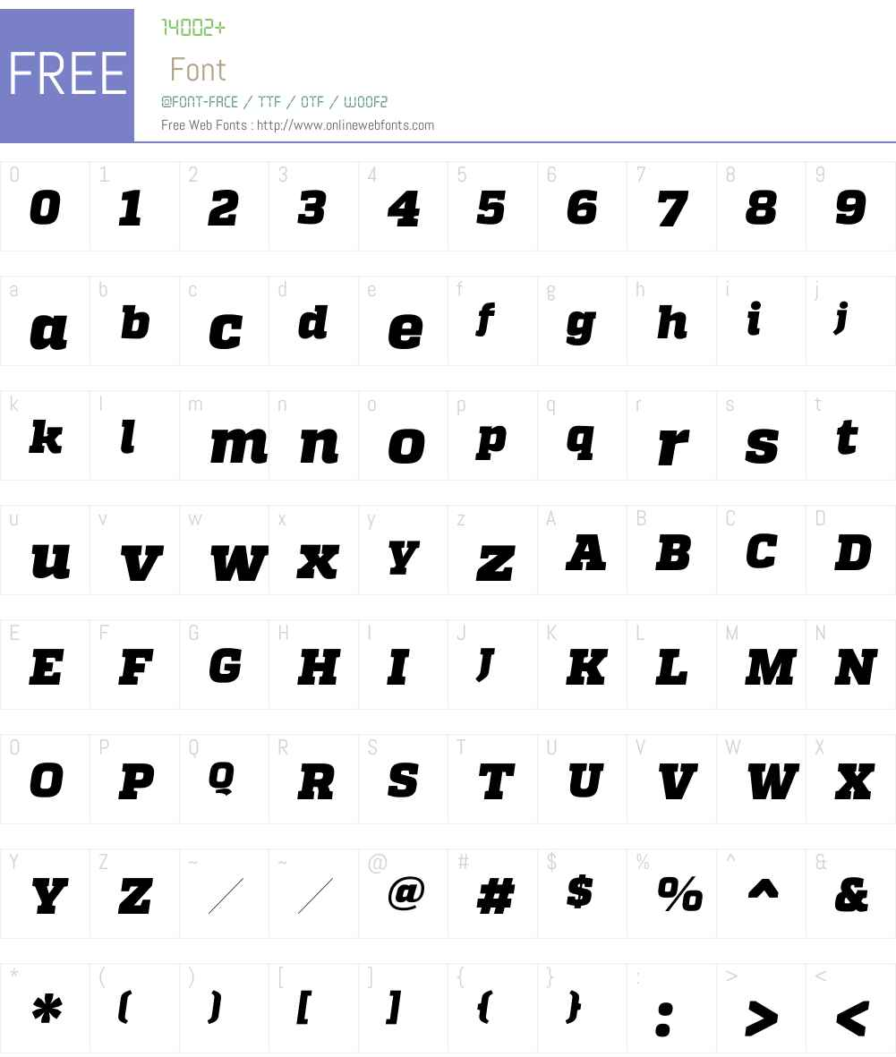 QuadonW00-BlackItalic Font Screenshots