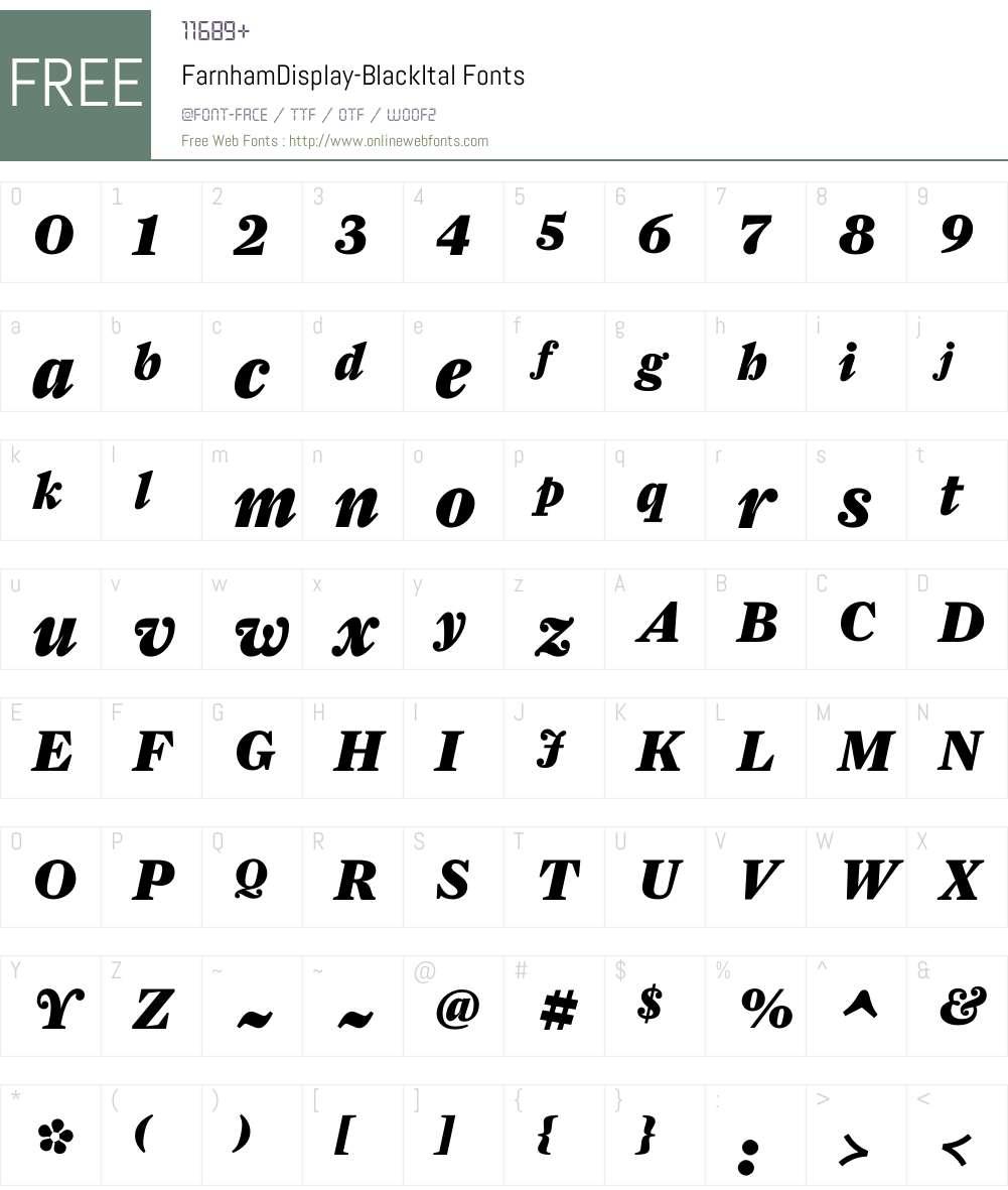 FarnhamDisplay-BlackItal Font Screenshots